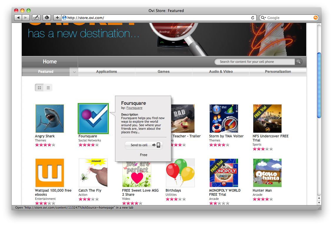 Ovi Store 1 - Featured page lists only free apps