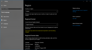 Regional Settings on Windows 10